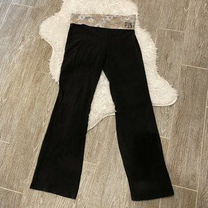Pink Yoga Foldover Pants Black Floral Waist Band S